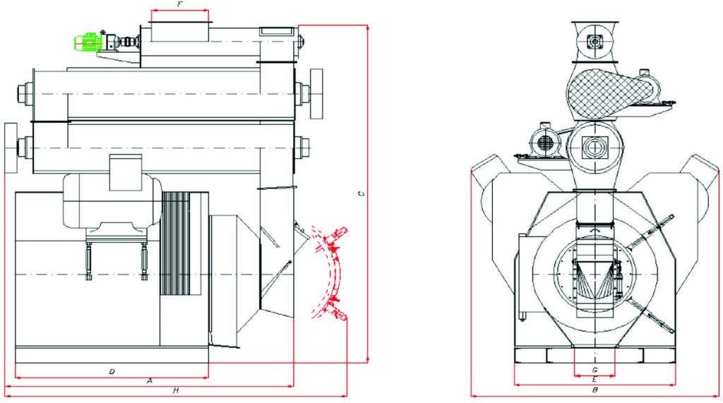 Пресс-гранулятор с двумя двигателями
